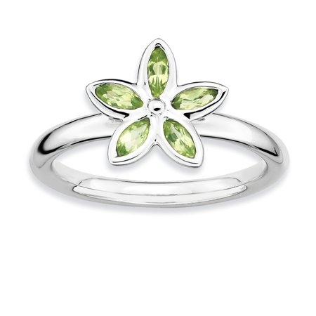 Sterling Silver Stackable Expressions Peridot Flower Ring Size 9 - image 3 of 3