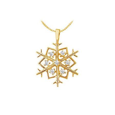 Diamond Flower Pendant 14K Yellow Gold 0.25 CT Diamonds - image 1 of 2