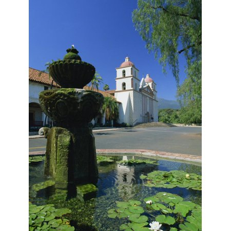 Fountain with Water Lilies, the Mission in the Background, Santa Barbara, California, USA Print Wall Art By Tomlinson Ruth