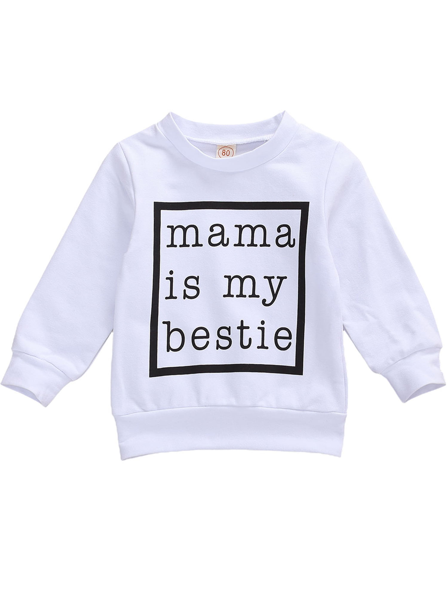 Baby Boy Letter Mom Bestie Print Sweatshirt Long Sleeve Pullover Casual Soft Long T-Shirt Tops Fall Winter Outfits