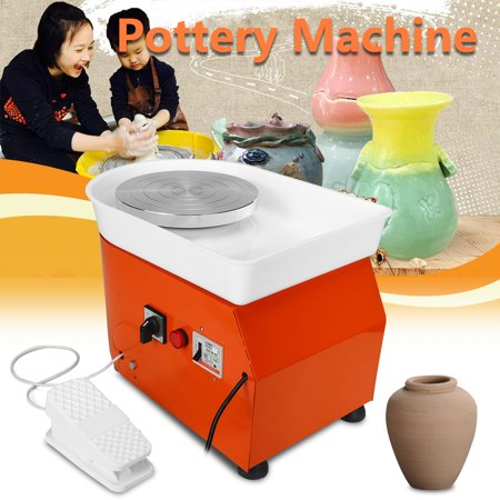 250W 110V 0-300r/Min Inorganic Speed W/ Mobile Foot Pedal Electric Pottery Wheel Machine Ceramic DIY Tool Art Craft For Beginner Kids Toddlers Birthday Gifts Early (Children's Pottery Wheel)