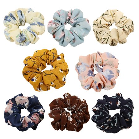 Fascigirl 8Pcs Hair Ties No-damage Soft Cloth Flower Shaped Ponytail Holder Hair Elastic Hair Scrunchies Hair Bands Ties Ropes Hair Accessories for Women Ladies Girls, 8Pcs/Pack](50s Ponytails)
