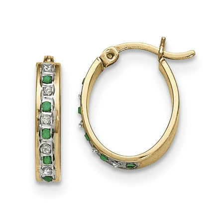 Emerald Cut Earring Setting (Sterling Silver & Gold-plated Diamond & Emerald Oval Hoop)