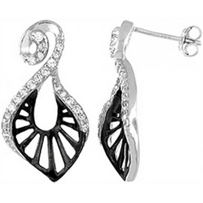 Doma Jewellery DJS02054 Sterling Silver (Rhodium Plated) Earrings with CZ - 26mm Height