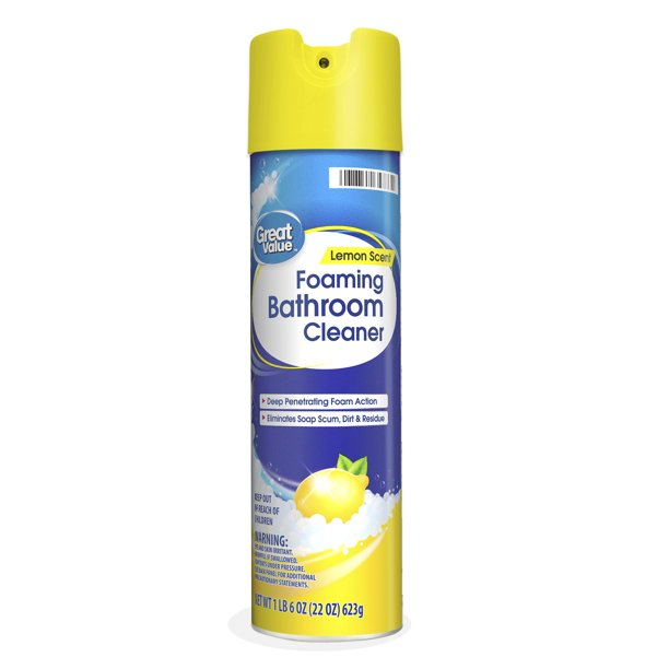 Great Value Foaming Bathroom Cleaner Lemon Scent 22 Oz Walmart Com Walmart Com