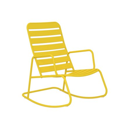 Novogratz Poolside Gossip Collection Roberta Outdoor Rocking Chair Yellow