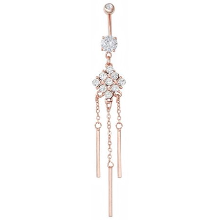 Rose Gold Plated Crystalline Square Dangle Belly Button Ring