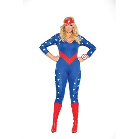 Women's American Hero 3 pc costume includes long sleeve jumpsuit, wrist band and head piece. Blue, 3X/4X - Costume Not Included