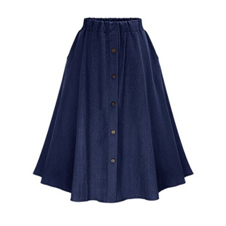 Denim Jeans Skirt for Women Elastic Waist High Rise A-line Flared Girls Casual Summer Midi Button Down Skater Dress