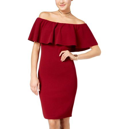 Almost Famous Womens Juniors Off-The-Shoulder Ruffled Bodycon Dress](Famous People Dress Up Ideas)