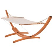 Outsunny Wide Outdoor Arch Wooden Hammock Bed with Stand featuring Modern Design Aesthetic & Water-Fighting Material, White