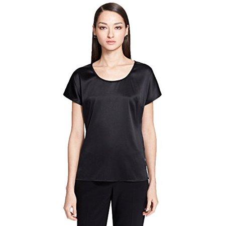 St John Womens Silk Short Sleeves Blouse (Caviar, - Silk Caviar