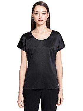 b5f8a757456c8 Product Image St John Womens Silk Short Sleeves Blouse (Caviar