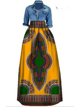 High Waist Bohemian Print Women Long Chiffon Skirt