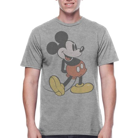 Mickey Mouse Men's Vintage Character Shot Short Sleeve Graphic T-Shirt, up to Size (Spandex Vintage T-shirt)