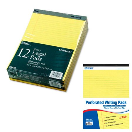 - 12 Ct Legal Note Pads Wide Ruled Pad Writing 8.5 x 11 Canary Yellow 50 Sheets !