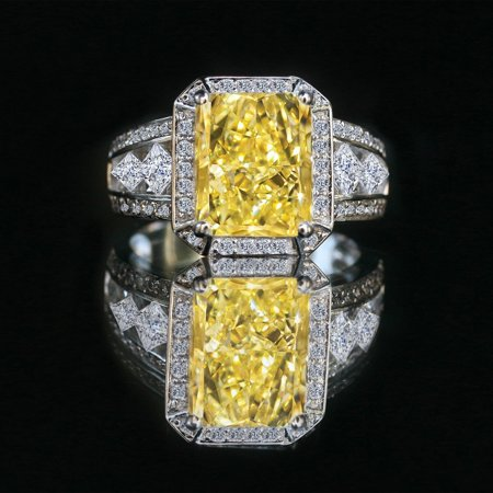 - Radiant emerald center framed halo settings split shanks zirconite diamond shape princess cut simulated diamond Canary