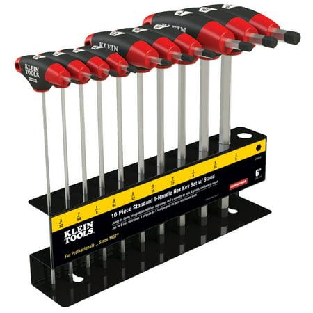 6 Hex Blade - Klein Tools Journeyman T-Handle Hex Key Sets, 10 per set, Hex Tip, Inch, 6 in Blade