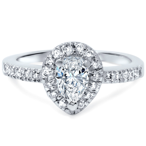 1 2ct Pear Shape Natural Diamond Engagement Ring 14K White Gold Solitaire by Pompeii3