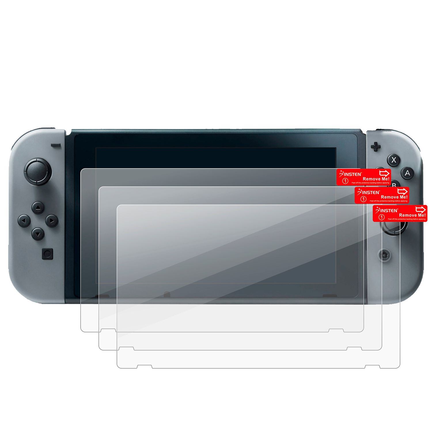 Nintendo Switch Case with Screen Protector 6in1 Bundle, by Insten Carry Travel Hard Case + Joy-Con Controller Skin [Left BLACK/Right RED] + 3-pack LCD Guard + 2-pair Thumbstick Cap for Nintendo Switch - image 5 of 6