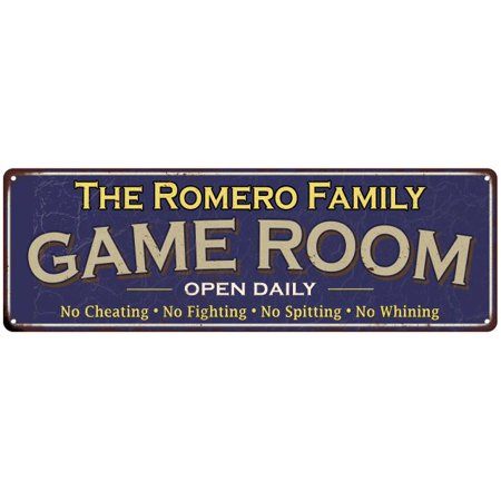 The Romero Family Game Room Blue Vintage Look Metal 8x24 Sign Wall Decor 8247538