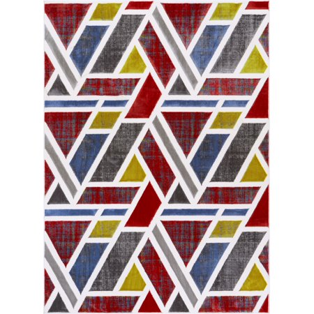 - Spirit Multi Red Blue & Yellow Modern Geometric High-Low Pile Area Rug 8x10 (7'10