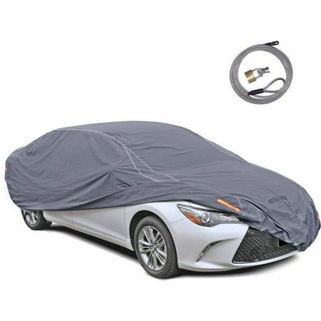 Motor Trend Trueshield Waterproof Car Cover  Heavy Duty Outdoor Fleece Lined Sonic Coating  100 Percent Water Wind Uv Proof  Full Size