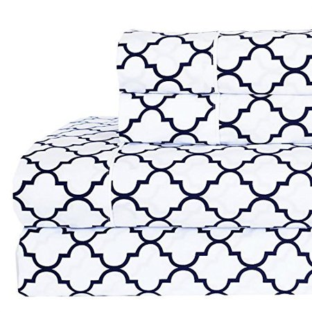 84685fed65cf White   Navy Twin XL Printed Meridian 100% Combed Cotton Percale Sheet Set    Flat