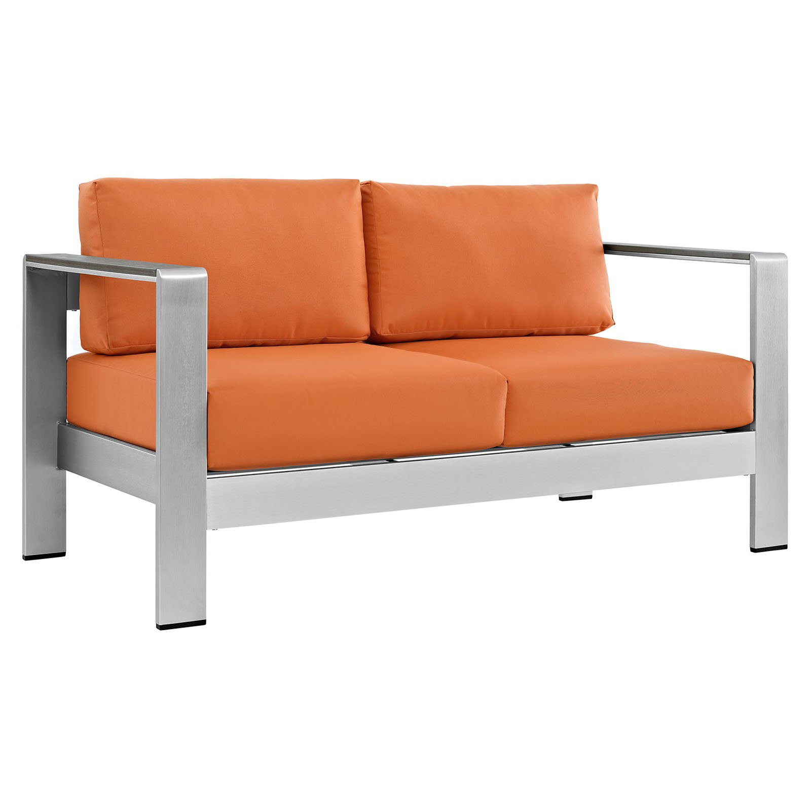 Modway Shore Outdoor Patio Aluminum Loveseat, Multiple Colors Available