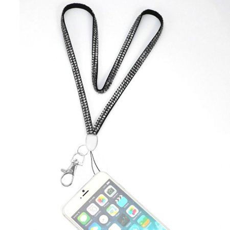 - Valor Diamante Neck Lanyard Cellphone Keychain ID Badge Card Holder Strap - Black