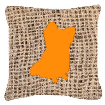 Carolines Treasures BB1115-BL-OR-PW1414 14 x 14 in. Chihuahua Burlap and Orange Fabric Decorative Pillow - image 1 of 1