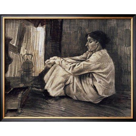 - Sien with Cigar Sitting on the Floor Near Stove Framed Art Print Wall Art  - 21x21