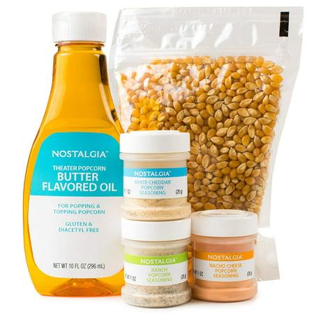 KPK400 Hot Air & Kettle Popcorn Kit, 3 Seasonings, Oil, Popcorn Kernels Nostalgia