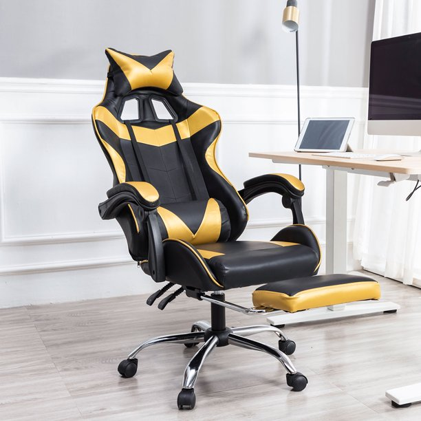 Gaming Chair with Adjustable Lumbar Pillow,Retractable Footrest and Headrest -Racing Ergonomic High-Back PU Leather Office Computer Executive Desk Chair