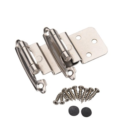 Pair 2 pcs Self Closing Cabinet 3/8 Offset Inset Hinges Satin Nickel 62726 ()