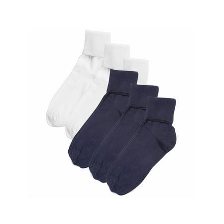 Women's Buster Brown 100% Cotton Fold Over Socks - 6 Pack 3 White 3 Navy