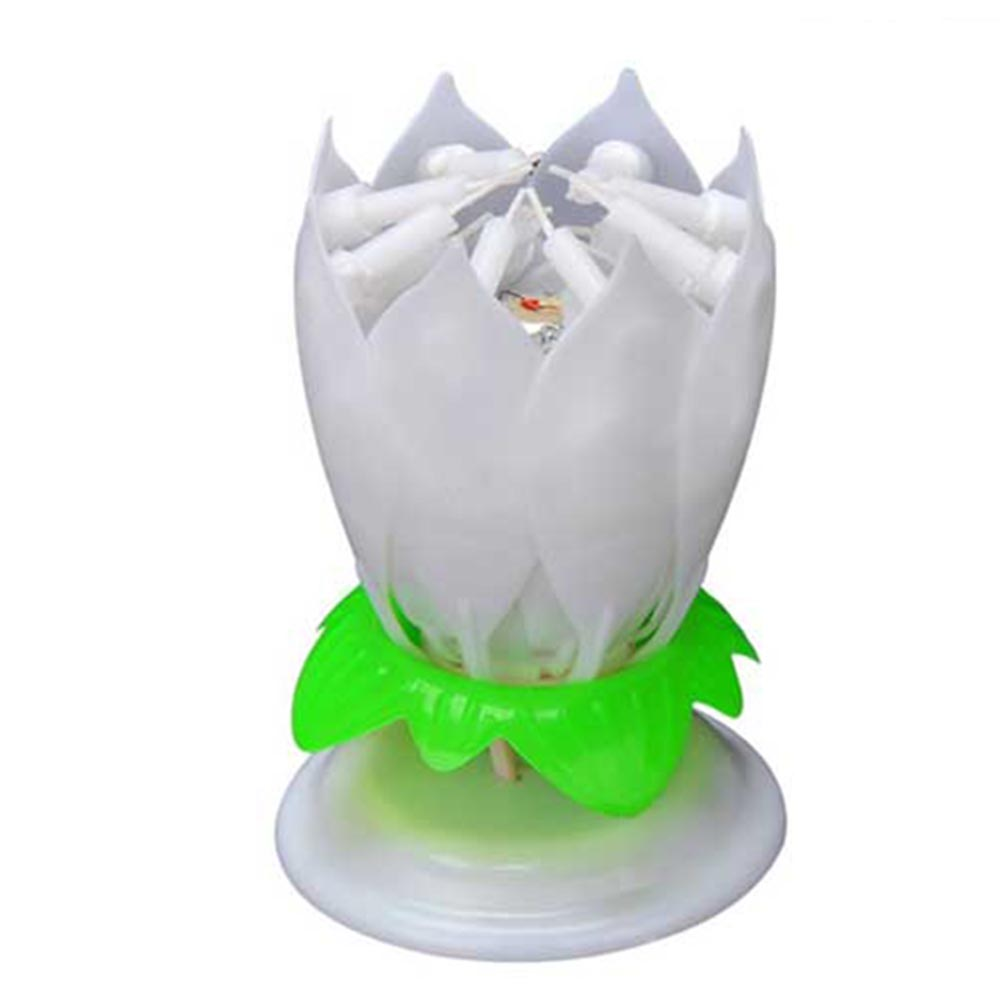 Gzyf 2pcs magic birthday blooming flower lotus music candles singing gzyf 2pcs magic birthday blooming flower lotus music candles singing rotatable double layers candle spin candle w 14 small candles white walmart izmirmasajfo