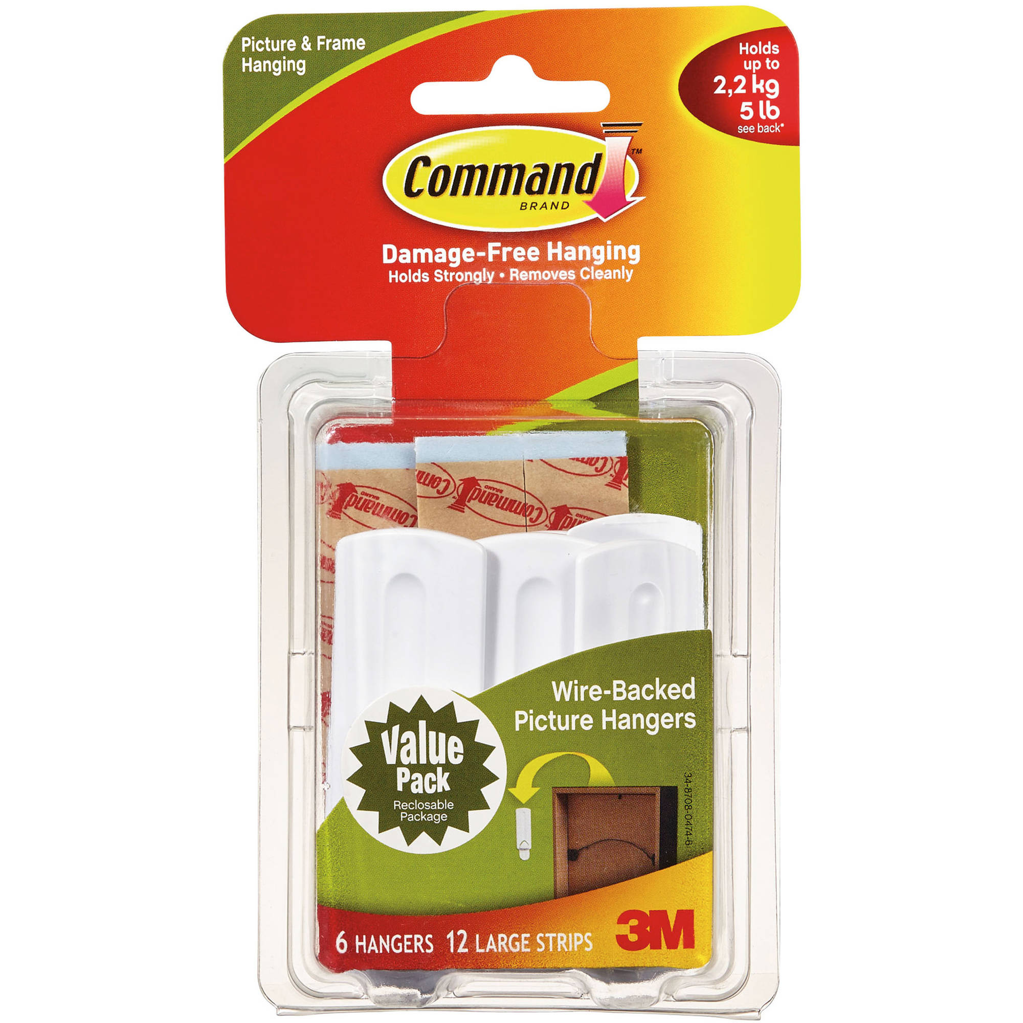 Command Wire-Back Picture Hanging Hooks Value Pack, White, 6 Hangers, 12 Strips/Pack