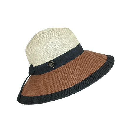Size one size Women's Paper Braid Color Block Sun Hat with Black Ribbon, Natural (Ribbon Braid Hat)