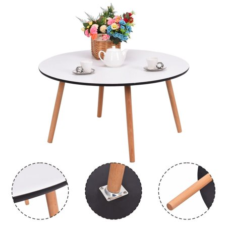 Costway Modern Round Coffee Tea Table Living Room Furniture Home Decor White