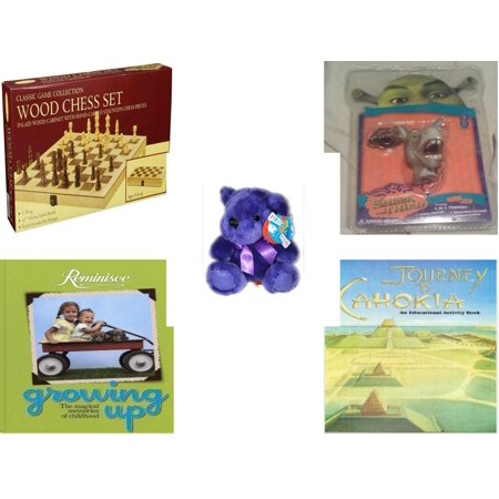 Chi Bears - Children's Gift Bundle [5 Piece] -  Classic Wood Folding Chess Set  - Shrek Donkey Foamheads 4 In 1 Topper Keychain  - Little Rainbow Bear Purple  - Reminisce Growing Up, The Magical Memories of Chi