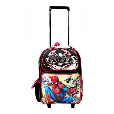 Spiderman Web Swinging 17 School Large Rolling Backpack