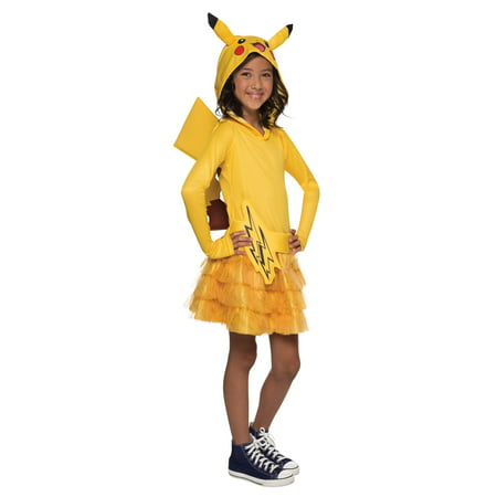 Pokemon: Girls Pikachu Hoodie Dress - Small - Cat Pikachu Costume