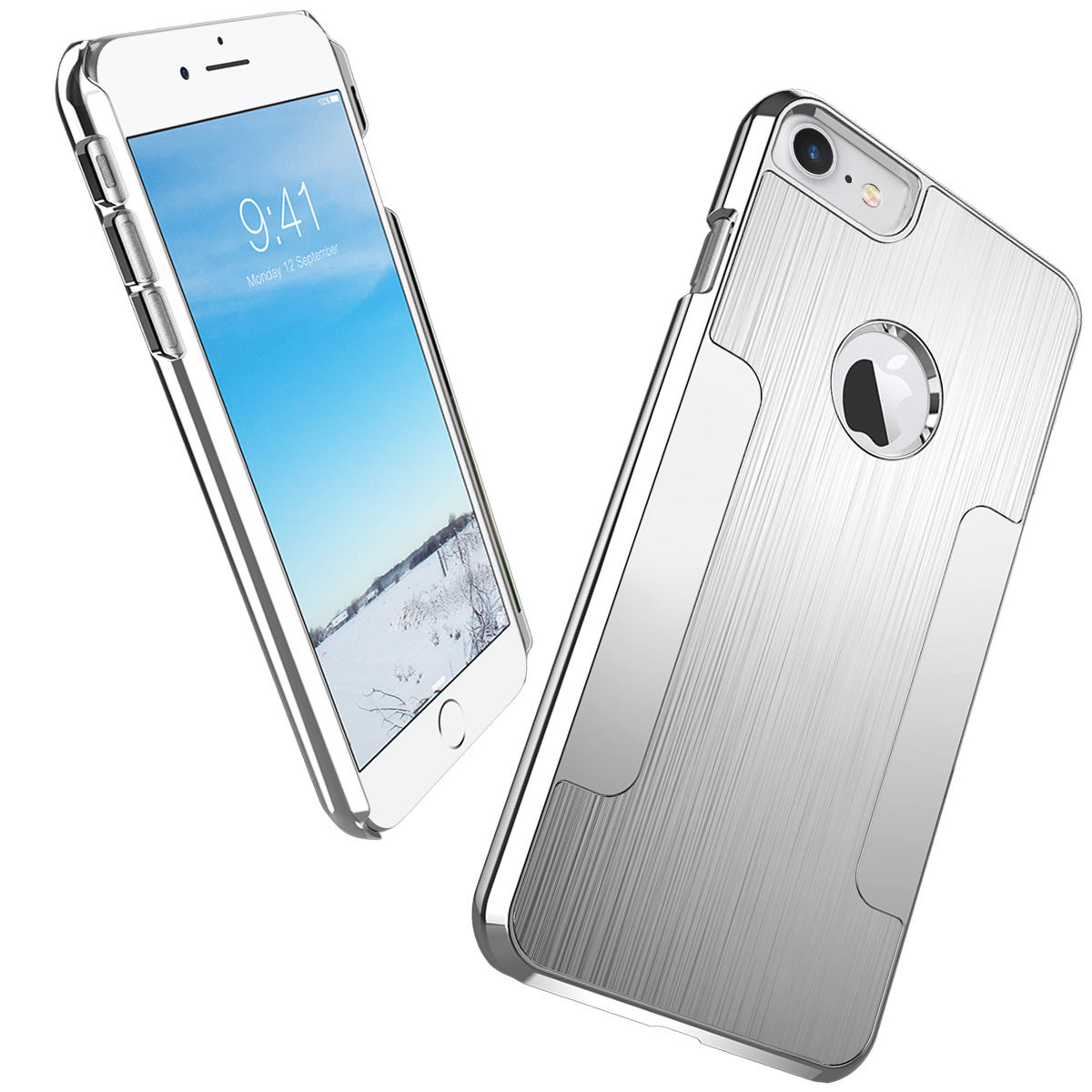 iPhone 7 Case, ULAK Slim Brushed Aluminum Chrome Coating Hard Case With PC Cover for iPhone 7 4.7 inch 2016