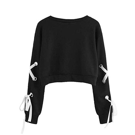 Hoodies for Women Pullover Clearance Sale 2018 Casual Women's Novelty Hoodies Women's Casual Lace Up Long Sleeve Pullover Crop Top Solid Sweatshirt