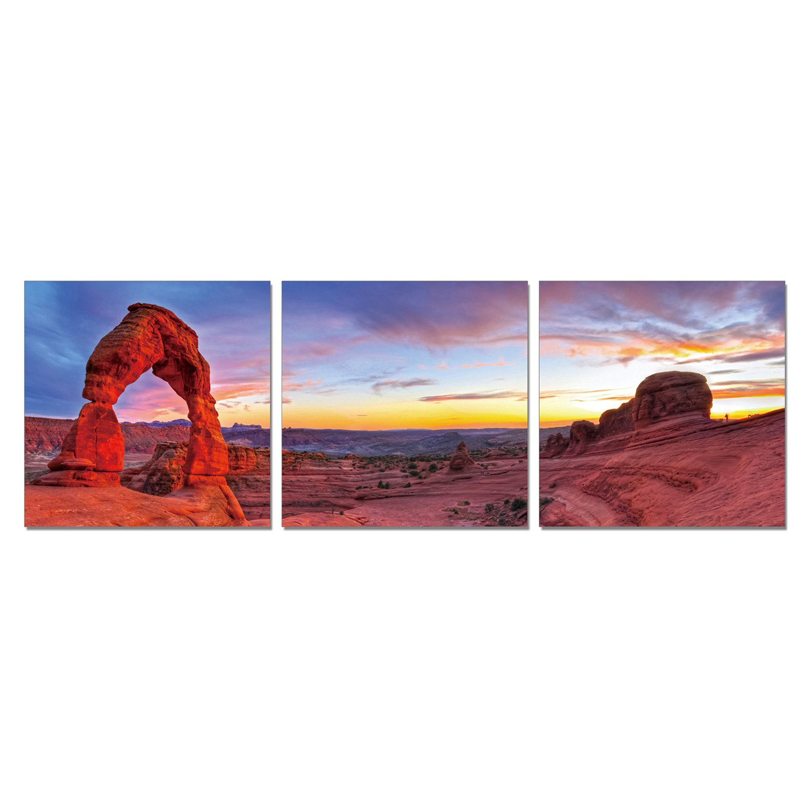 Furinno SeniA Delicate Arch 3-Panel MDF Framed Photography Triptych Print, 48 x 16-in