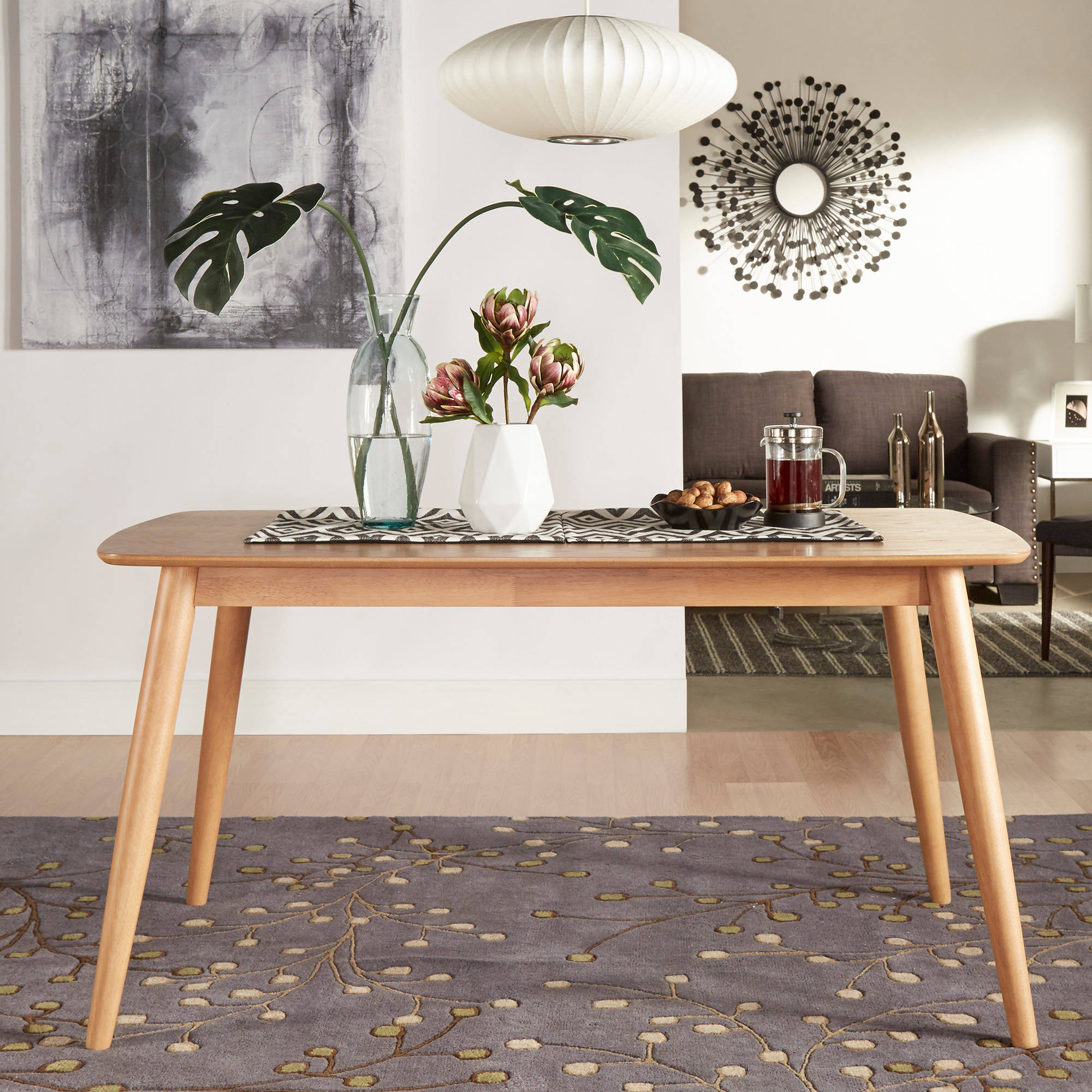 "Chelsea Lane Mid Century Modern 60"" Dining Table, Multiple Table Sizes"