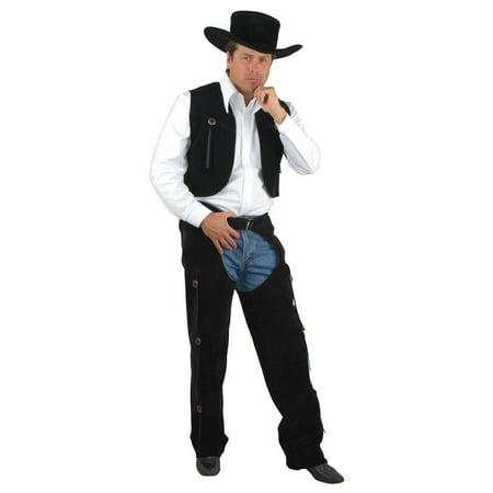 Halloween Men's Black Suede Chaps & Vest Adult Costume (Cowgirl Costume Chaps)