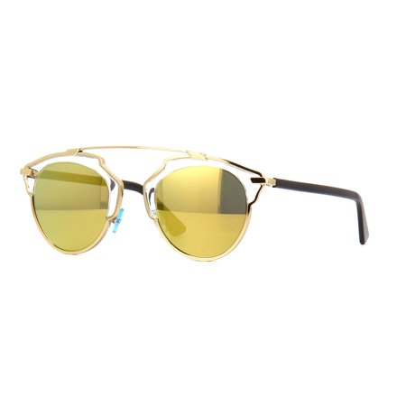 Christian Dior SoReal Retro Sunglasses Black Crystal Frame/ Gold Mirror (Christian Dior Black And Gold Sunglasses)