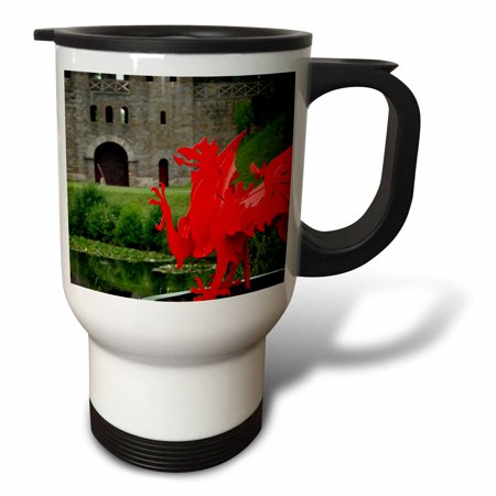 3dRose Wales, Cardiff Castle, red winged dragon - EU43 CMI0027 - Cindy Miller Hopkins, Travel Mug, 14oz, Stainless Steel